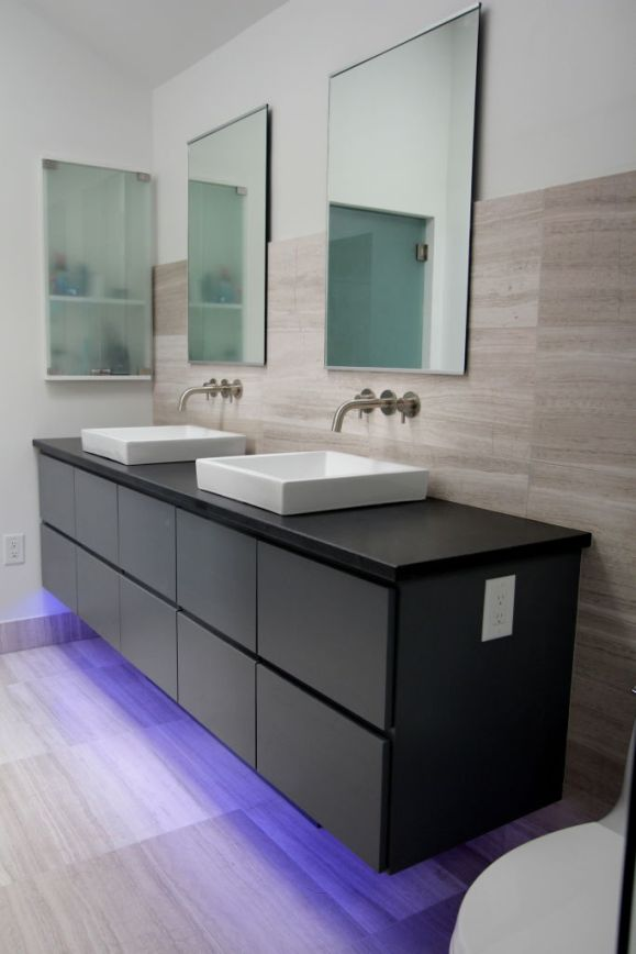 custom-gray-vanity-with-all-drawers-square-ceramic-sinks-wall-mount-faucets-frameless-mirrors-glass-medicine-cabinet