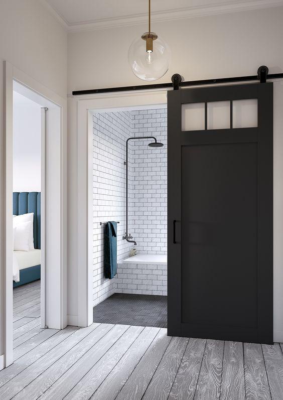 Black Bathroom Barn Door Slider