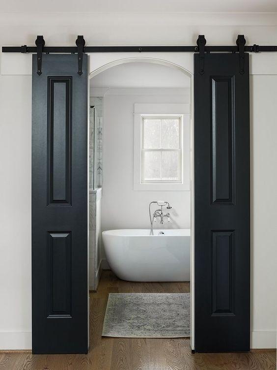 Double Barn Door Slider For Bathrooms